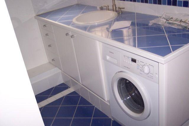 Salle de bain pdt car bleu - Plan de travail pour meuble de salle de bain ...